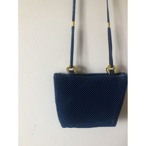 Vintage Bags by Marlo Blue Beaded Crossbody Bag